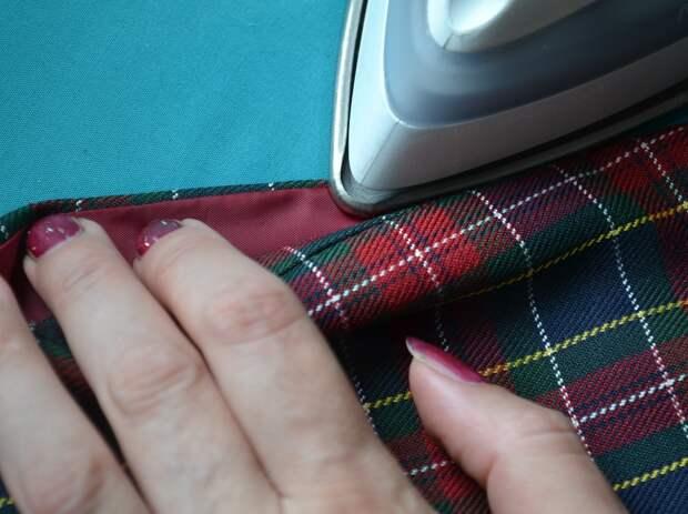 Обработка внутреннего бокового кармана платья, шаг 16