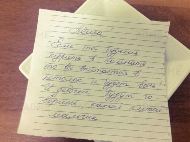 Записки, наполненные родительской любовью родители, прикол, записки