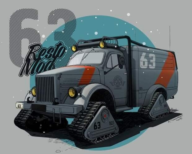 5. ГАЗ-63 «Снежная крыса» СССР, авто, арт-картина, прототип, художник