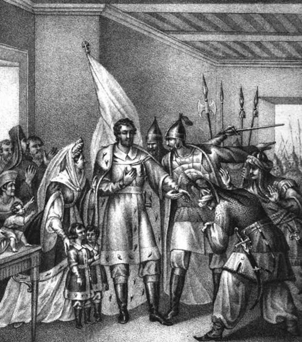 Князья и бояре вызываются возвратить Василию Темному великокняжеский престол, 1446 год. Художник Борис Чориков. 1838 год