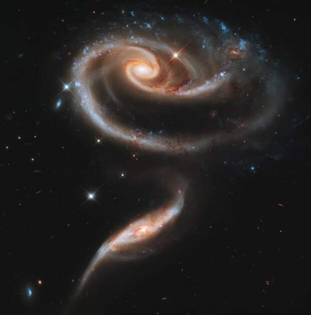 Идеальная роза, свернутая из двух галактик ТУМАННОСТИ, звезды, космический телескоп, космос, необычно, планеты, снимки, фото