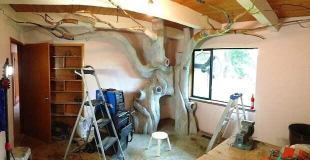 6. Ствол дерева умелец смастерил из специальной смеси цемента, а текстуру создавал силиконовыми валиками и инструментами для работы с глиняными скульптурами дети, детская, детская комната, дизайн, идеи, ремонт, своими руками, фото