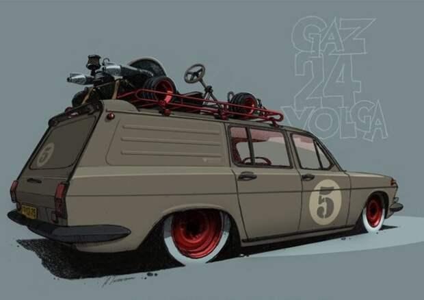 15. ГАЗ-24-02 Волга СССР, авто, арт-картина, прототип, художник
