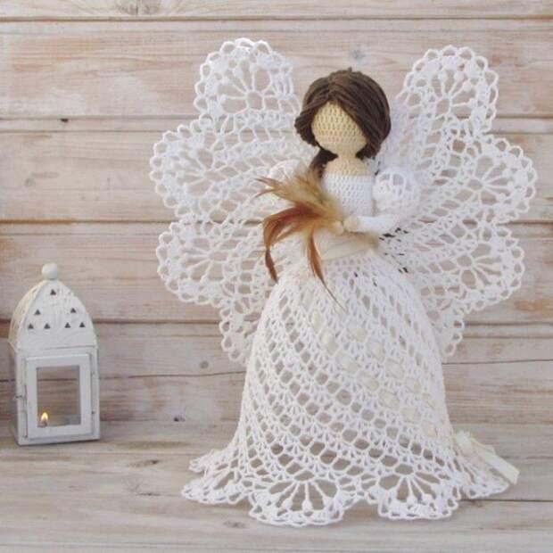 Рождественские ангелочки, вязанные крючком