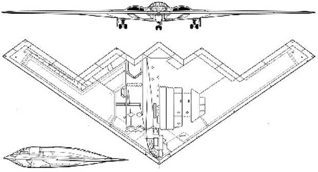 Проекции американского бомбардировщика B-2 Spirit