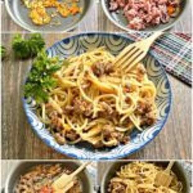 Спагетти с фаршем и овощами.