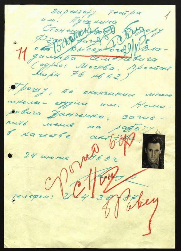 Заявление В. Высоцкого о приеме в театр им. Пушкина. 24 июня 1960 г.