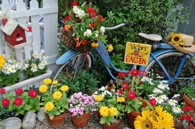 Превращение старого велосипеда в удивительный вело-декор для вашего сада