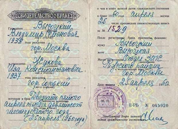 1960 год 25 апреля. - Свидетельство о бракосочетании Изы Жуковой и Владимира Высоцкого