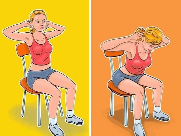 6 упражнений для плоского живота и тонкой талии, которые можно делать, сидя на стуле