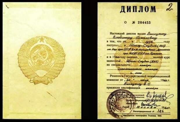 Диплом об окончании школы-студии МХАТ в 1960 году Высоцкого В. С.