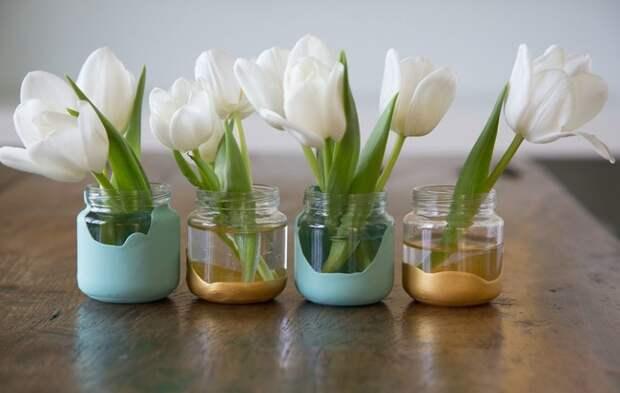 3. А если окунуть баночки в краску, то получатся еще более интересные вазы банка, идея, поделка