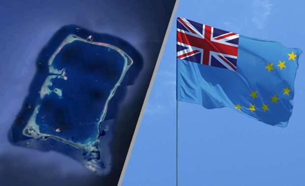 Самый прямоугольный атолл в составе Тувалу - Мотулало, и флаг Тувалу