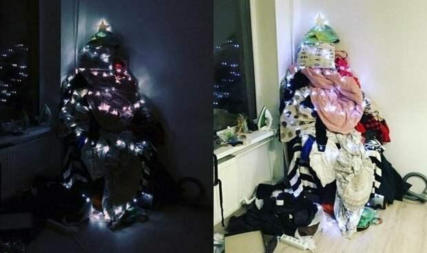 Новогодняя ёлка для ленивых гирлянды, новый год, праздник к нам приходит, праздники, прикол, юмор