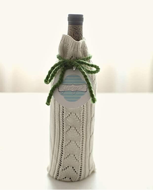 Мешочек для вина из старого свитера.