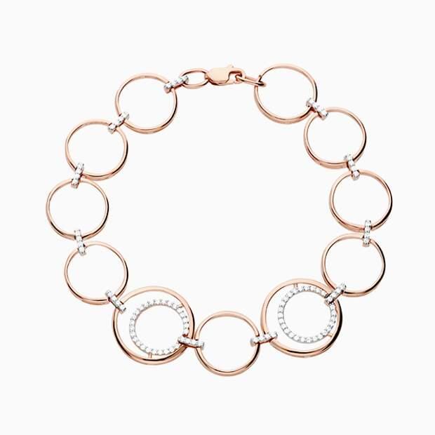 Браслет «Сорокин», розовое золото, фианиты