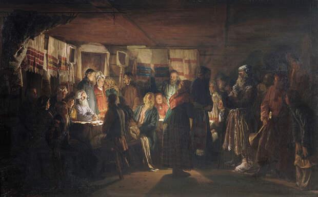 В. Максимов. Приход колдуна на крестьянскую свадьбу. 1875