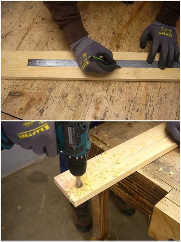 Отверстия большого диаметра можно сделать с помощью дрели и соответствующей насадки. | Фото: youtube.com/ © Men's Craft.