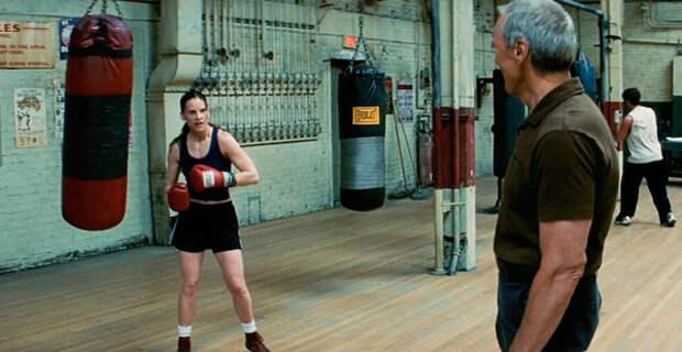 """актеры Клинт Иствуд (Фрэнки Данн) и Хилари Суонк (Мэгги Фицджеральд) - кадр из фильма """"Малышка на миллион"""""""
