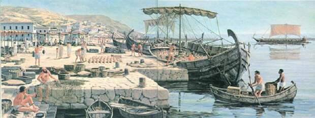Погрузка греческого торгового судна.