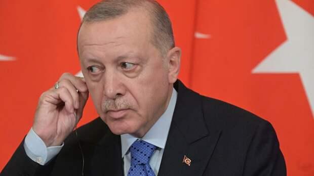 Президент Турции Реджеп Тайип Эрдоган во время совместного с президентом РФ Владимиром Путиным пресс-подхода - РИА Новости, 1920, 28.09.2020