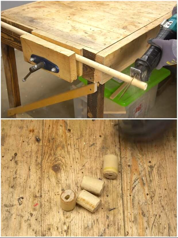 Процесс изготовления деревянной втулки. | Фото: youtube.com/ © Men's Craft.