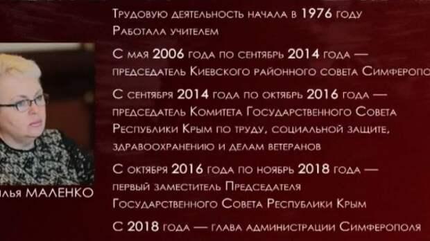 Глава администрации Симферополя Маленко ушла в отставку