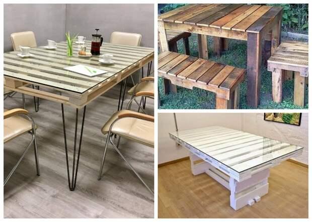 В качестве ножек для стола из паллетов можно использовать различный материал и конструкции.