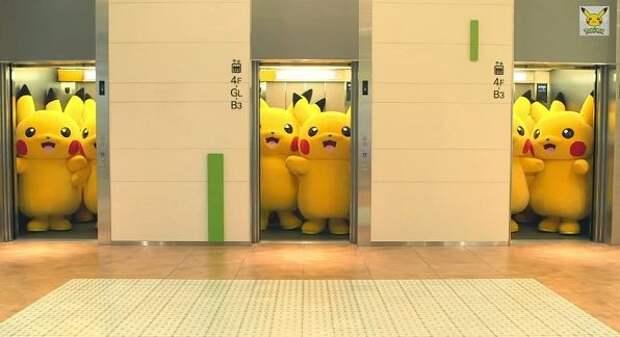 Покемоны в лифте