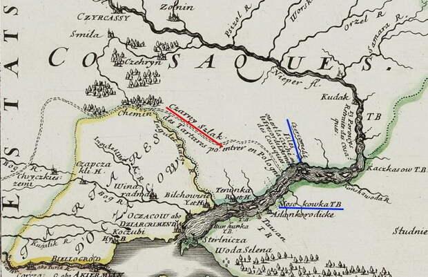 Таваньская переправа через Днепр на французской карте 1665 года. sites.google.com - Зарождение казачества | Warspot.ru