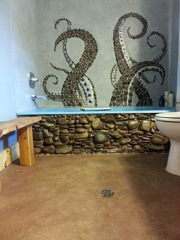 Осьминог в ванной комнате декор