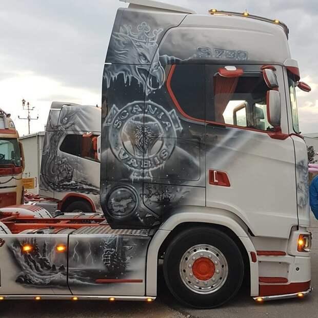 25+ отличных примеров как круто может смотреться аэрография на грузовиках автомобили, аэрография на грузовиках, грузофики, рисунки на грузовиках