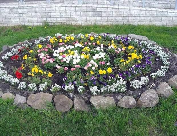 Клумбы для цветов на даче своими руками из камня