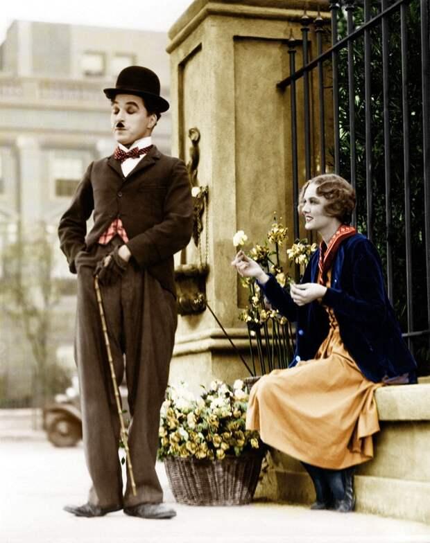 Цветные фотографии Чарли Чаплина в 1910-30 годах