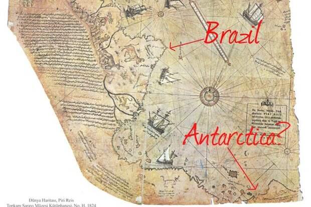 Карта Пири Рейса 1513 года, Фото взято из Яндекс.Картинок