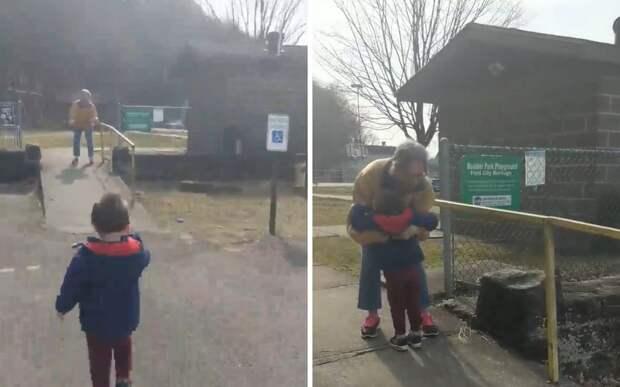 Мальчик обнял бабушку после месяцев разлуки. Их встреча растрогает любого