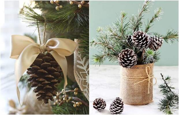 Шишка отлично смотрится на елке и в новогоднем букете