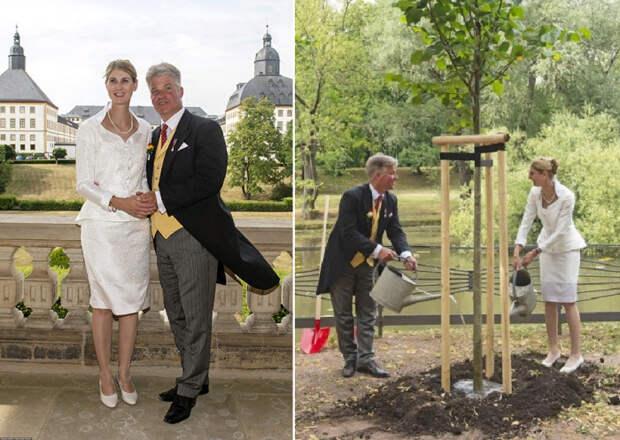 После бракосочетания Стефания Сибилла и ее молодой муж по традиции посадили дерево