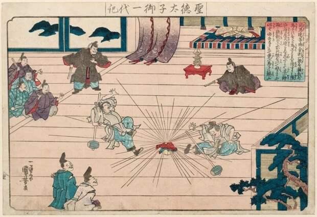 На этой же гравюре, в насмешливой форме, изображена безуспешная попытка Мононобэ уничтожить буддийскую реликвию.