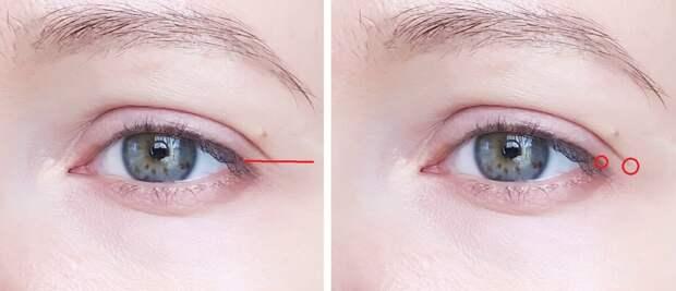 Обратите внимание, нависание век в данном случае позволяет выполнить макияж, так как залом не слишком низкий.