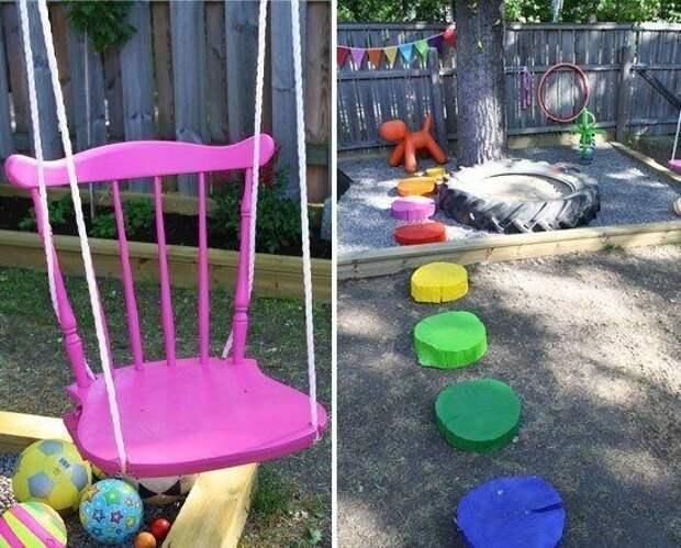 Примеры милейшего оформления детской площадки на даче
