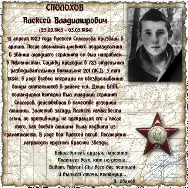 Младший сержант СПОЛОХОВ Алексей Владимирович