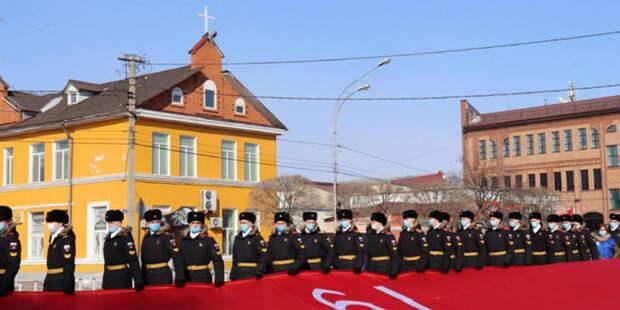 Знамя Победы площадью 200 квадратных метров развернули в Уссурийске