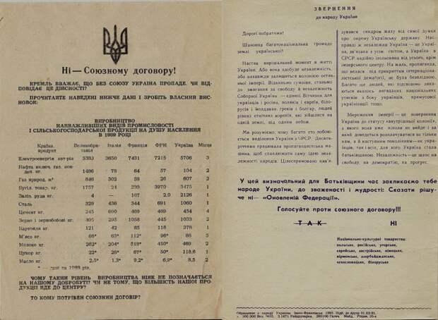Агрессивная агитация против подписания союзного договора на Украине шла с Галичины (листовка с обращением «К народу Украины», отпечатанная массовым тиражом в Ивано-Франковске). Любопытно, что её составитель манипулирует цифрами продукции, которую Западная Украина никогда не производила
