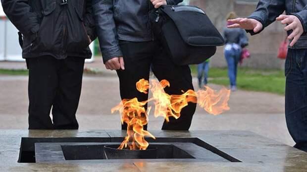 Юные жители Новосибирска устроили пикник у Вечного огня на Монументе Славы