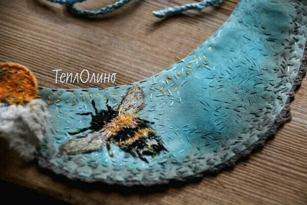 Воротнички с вышивкой. Теплолино