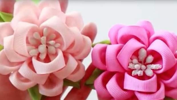 Видео мастер-класс: делаем цветы из репсовых лент