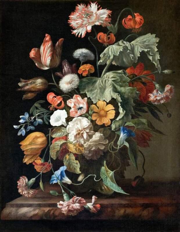 Натюрморт с цветами. Рашель Рюйш, 1750-е годы. \ Фото: line.17qq.com.