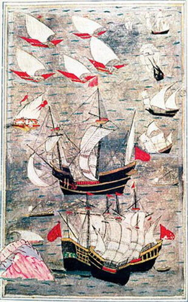 Рисунок османского автора XVI века, изображающий владычество османского флота в Аравийском море. Три горных вершины в левом нижнем углу символизируют Аден - Диу: недружественный визит | Warspot.ru