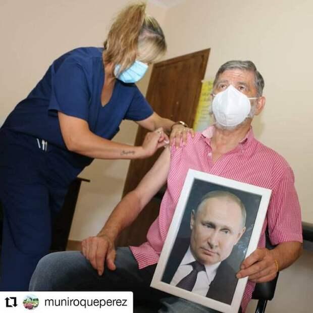 Мэр аргентинского города привился вакциной «Спутник-V» с портретом Путина